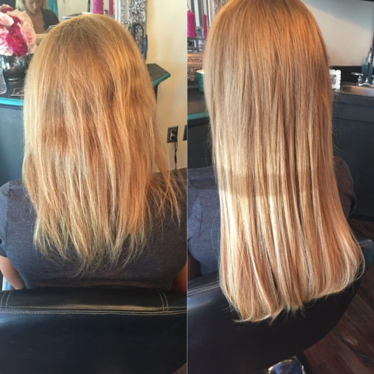 Before and after extensions, courtesy Ashley's Hair Extension Studio