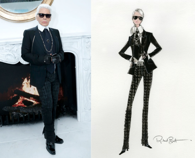 Karl Lagerfeld (L) and a sketch of Barbie Lagerfeld (R)