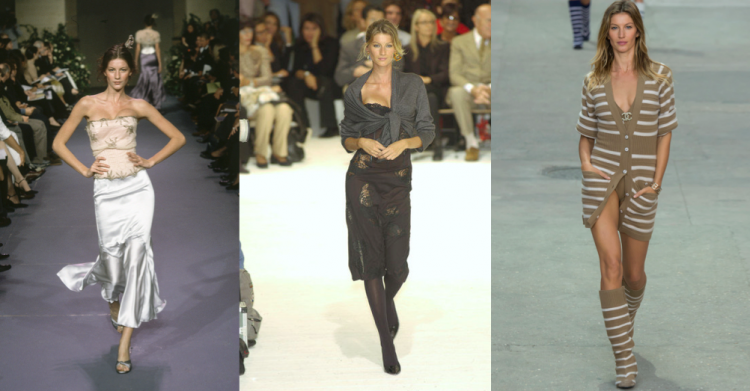 From then to now: Gisele Bundchen walking Chloe in 1999; Dolce & Gabbana in 2002; and Chanel in 2015