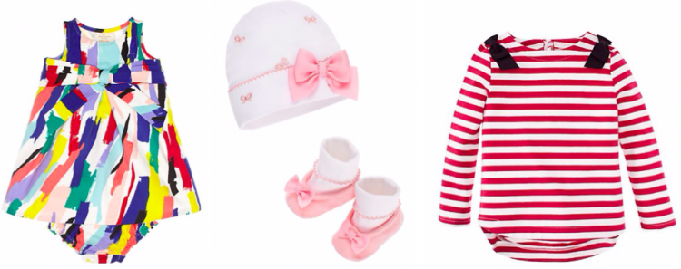Dress, cap & bootie set, and striped tee from Kate Spade Baby