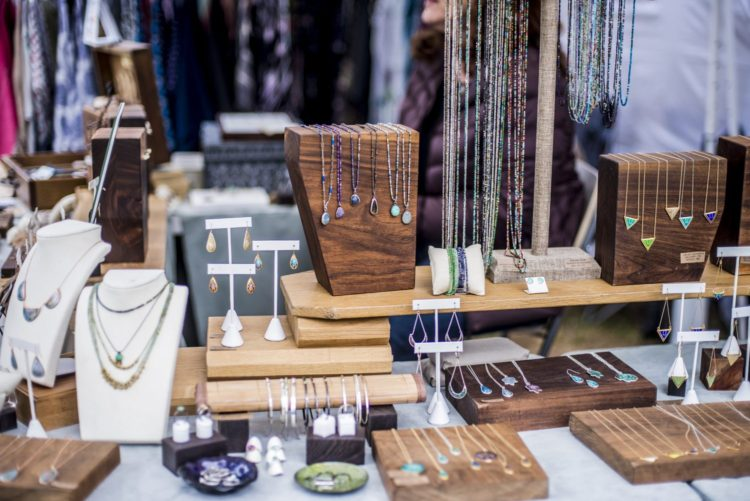 Sharon Kaplan's handcrafted jewelry display. Photo: Gil Riego Photography