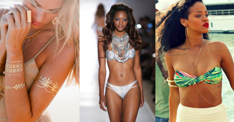 From L to R: Flash Tattoos; chunky necklaces as Beach Bunny; Rihanna