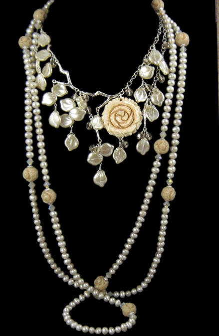 Beth Church pearl and rose necklace