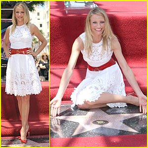 Cameron Diaz in Valentino receiving her star on the Walk of Fame