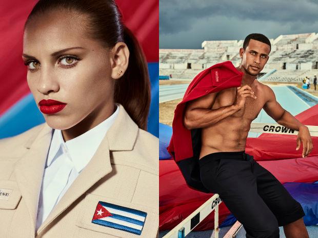 Cuban gymnast Dovelis Elena Torres Herrero and Cuban Team athlete Manuel Alejandro Gonzales Conde. Photo: Rene Habermacher