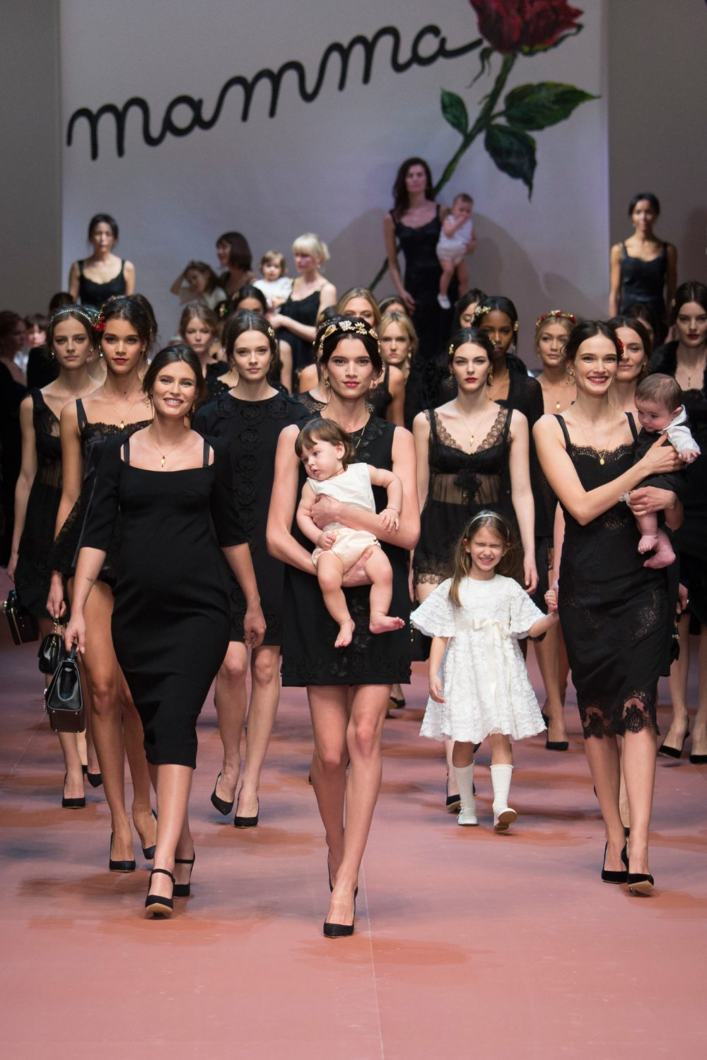 Dolce & Gabbana Sends Pregnant Model & Children Down the Runway