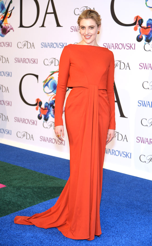 Greta Gerwig rocks less-is-more in a stunning floor-length Zac Posen