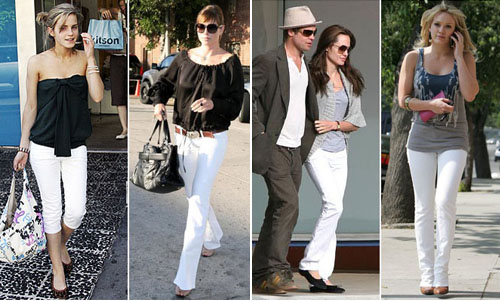 Celebs wearing white jeans