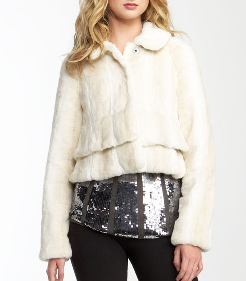 Juicy Faux Fur Jacket with Bracelet Sleeves - $398