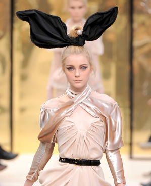 Jessica Stam in Louis Vuitton bunny ears