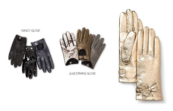 From left:   Julie gloves, Broome Street Metallic Bow Gloves