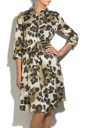 Moschino Cheap and Chic Animal Print Silk Shirt Dress