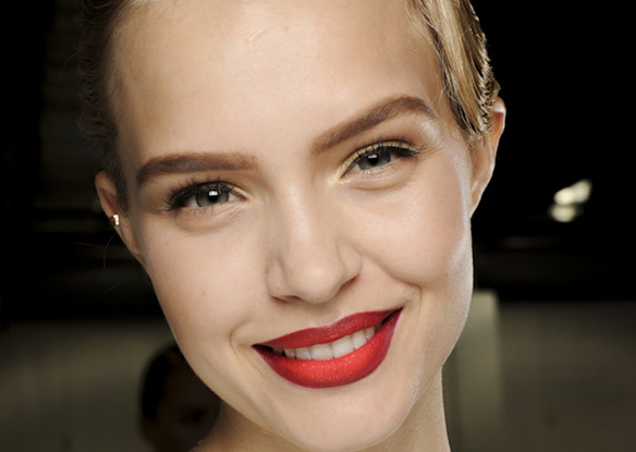 Models sported ombre lips at Jason Wu