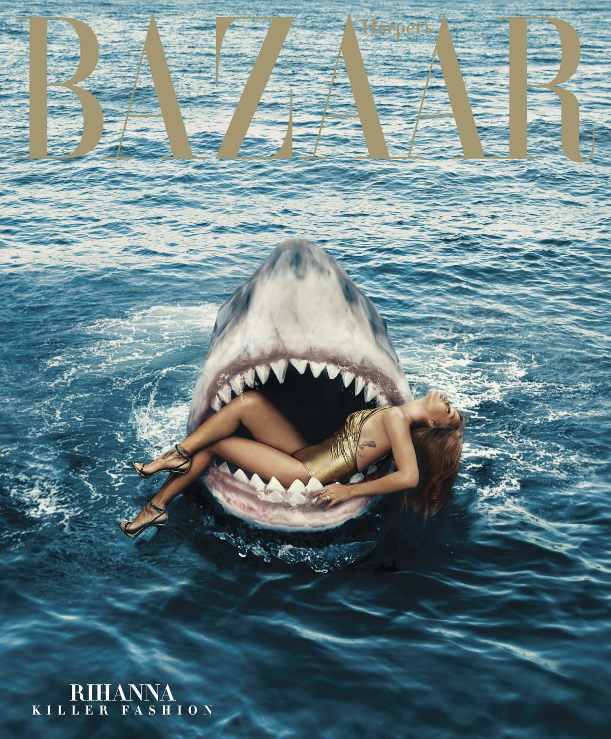 See Rihanna Swim With Sharks for Her Bazaar Cover Shoot