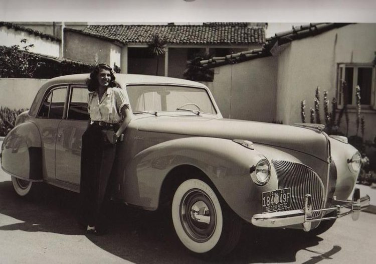 Rita Hayworth with her '41 Lincoln Continental
