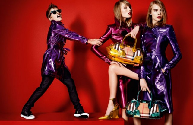 romeo-beckham-poses-with-cara-delevingne-in-matching-metallic-macs-for-burberry_s-spring-2013-campaign