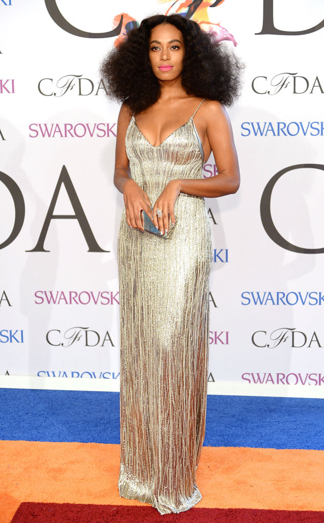 Solange Knowles in a Calvin Klein Collection dress, Jennifer Fisher jewelry, and Lorraine Schwartz