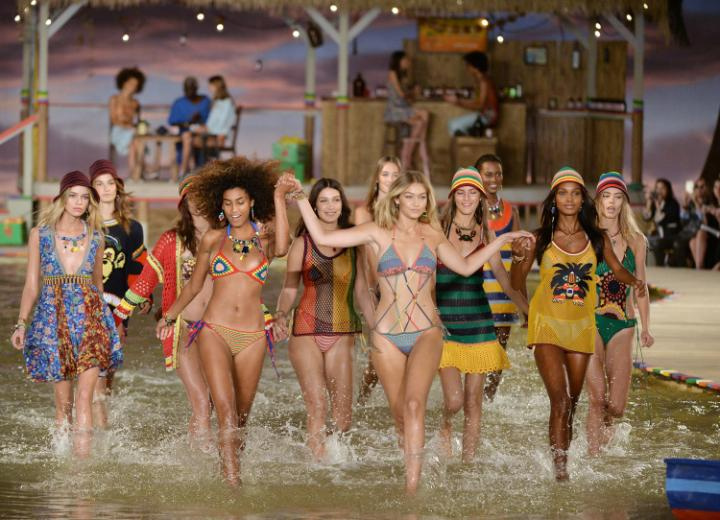 Gigi Hadid leads models down a lagoon-inspired runway at Tommy Hilfiger's Spring 2016 show