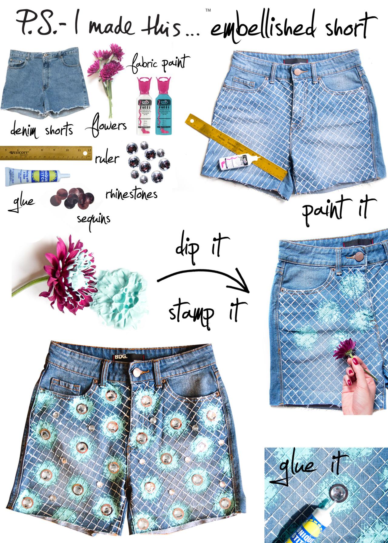 Как переделать джинсовые шорты своими руками