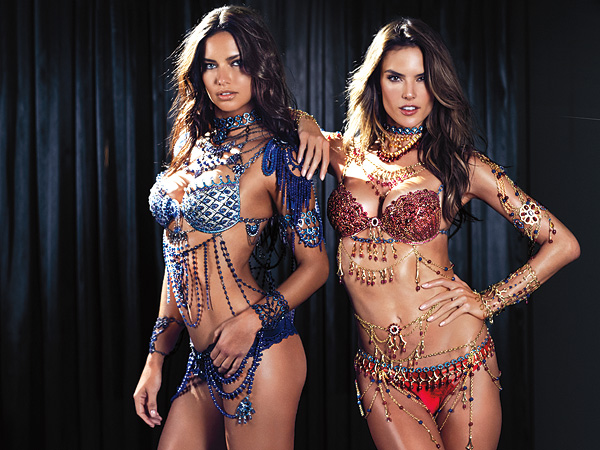 Adriana Lima & Alessandra Ambrosio Reveal Two Fantasy Bras for 2014 Victoria's Secret Fashion Show