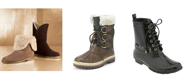 From left:  Faux Sherling booties from Colin Stewart, Tory Burch fur-lined duck boots, Sperry Shearwaters