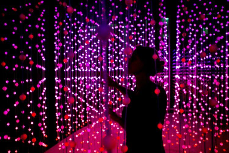 Squidsoup, Submergence, 2016. Interactive LED light installation, 17 × 23 × 33 feet. Photo: Anthony Rowe