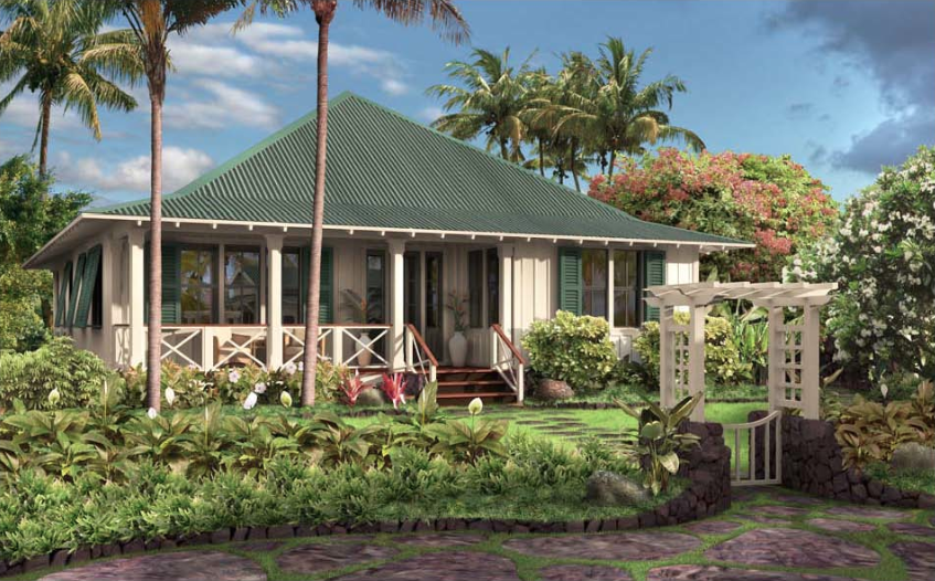 Kukui ula a stylish shade of green for Hawaiian style home plans