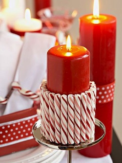 Diy christmas centerpieces for Candy cane holder candle centerpiece