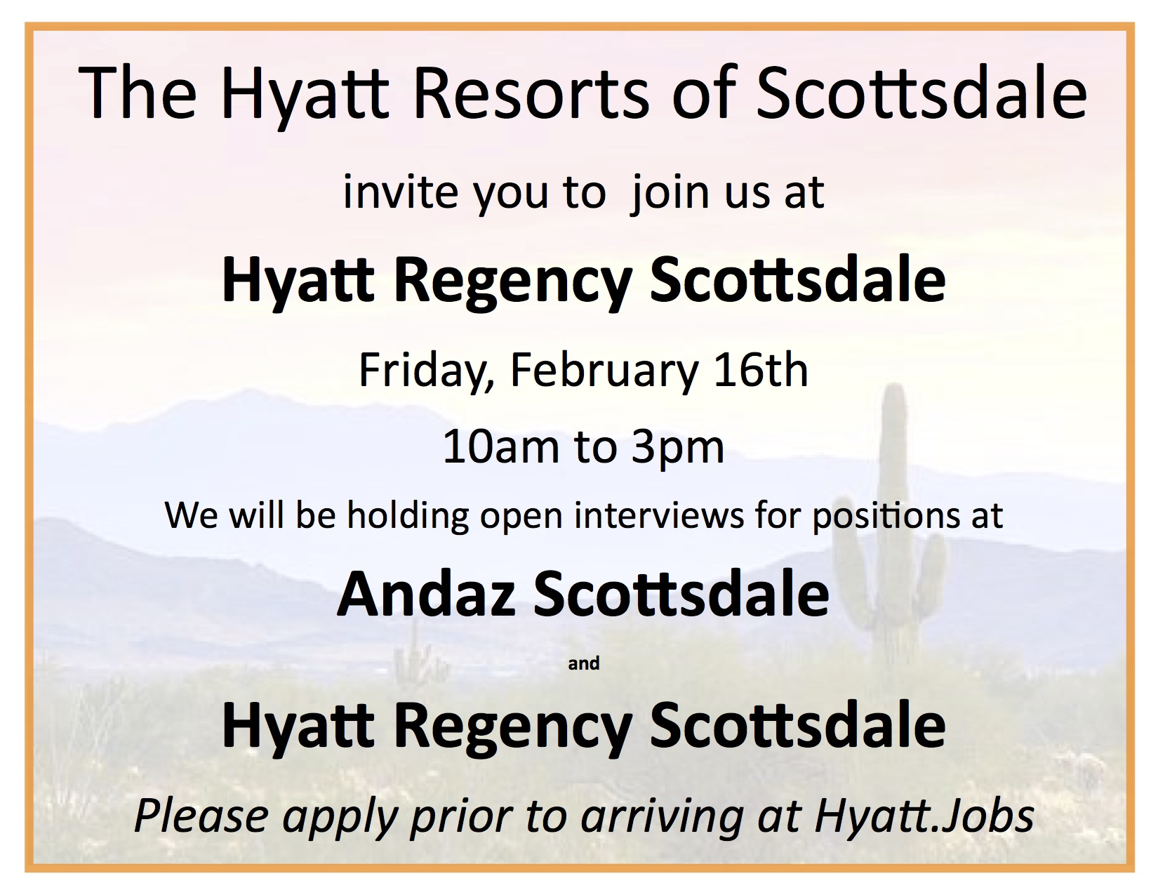 Hyatt and Andaz Job Openings.Scottsdale 2