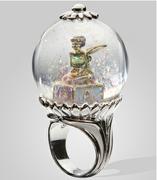 Clap Your Hands Disney Couture Tinkerbell Snow Globe Ring