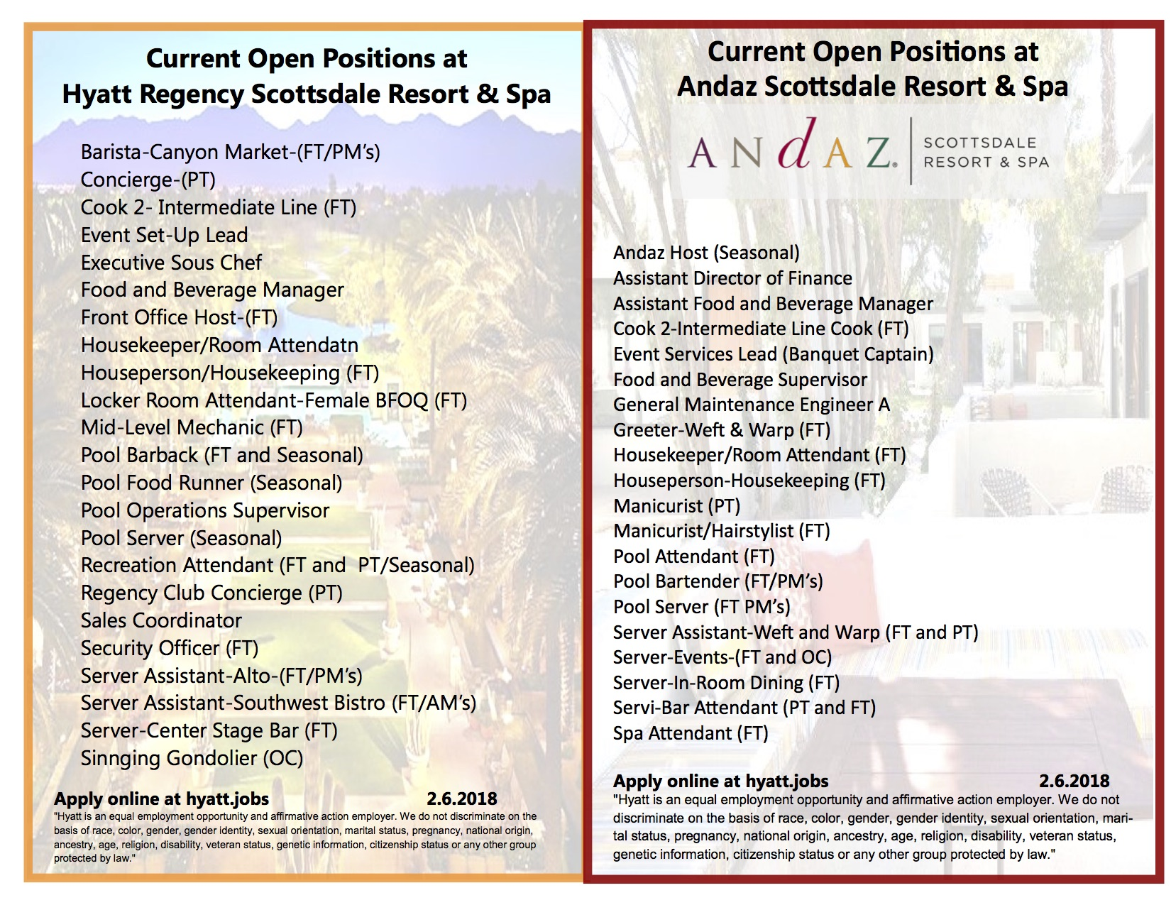 Hyatt Andaz Job Openings.Scottsdale only