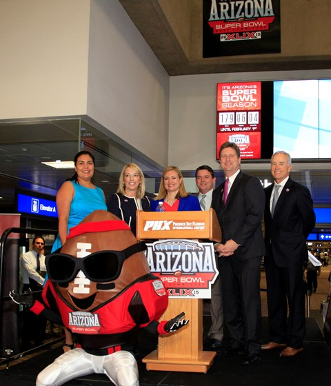 Super Bowl XLIX Countdown Clock unveiled at Sky Harbor Airport Aug 6 20141