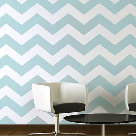 Wall stencils an inexpensive decorating trend for Chevron template for walls