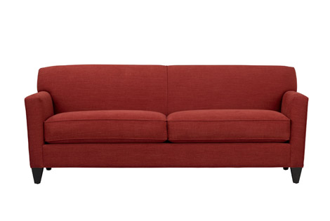 Crate And Barrel Hennessy Sofa In Tomato Red