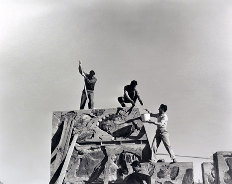 construction at Taliesin West Arnold Roy on right 1956