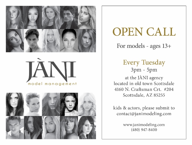 Open Call at JANI Model Management Every Tuesday
