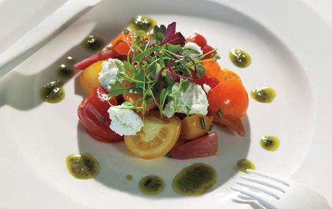 Tomato-Beet Salad and Goat Cheese with Basil Vinaigrette Recipe