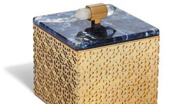 Square Filigree Box In Blue Sodalite, $175