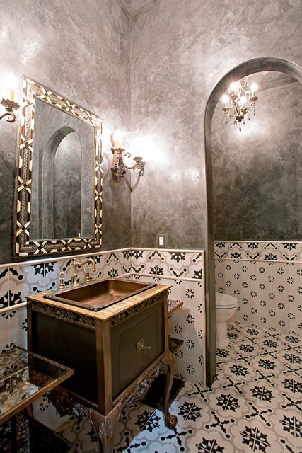 hand painted mexican tile manhattan cordova subway walls and walnut plank flooring are some of the accents found in exquisitely designed bathrooms - Blackstone Home Design