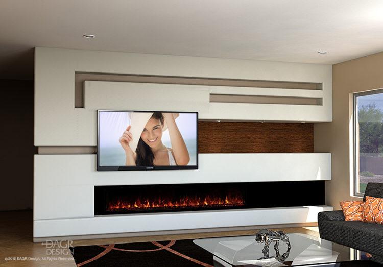 Modern-Media-Wall-Long-Fireplace Dagr Designs AZFoothills