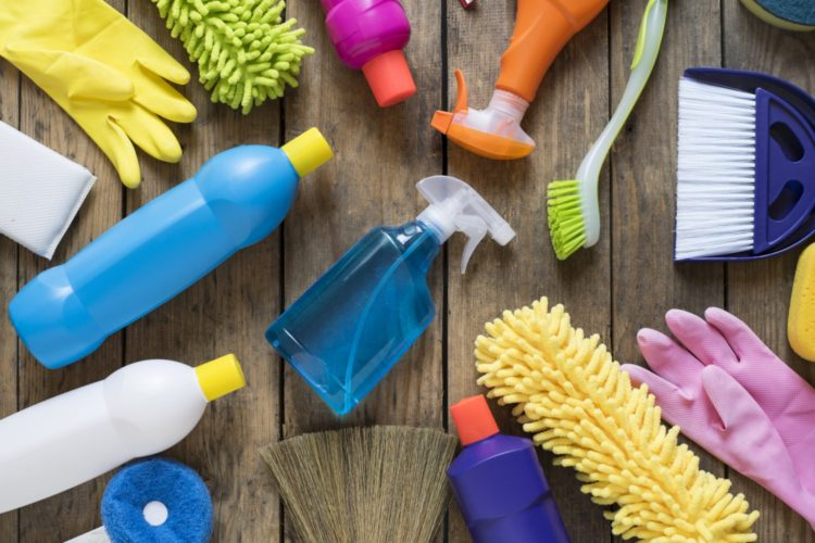 House cleaning product on wood table