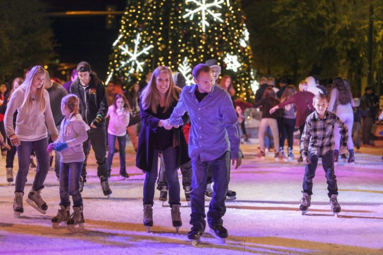12/14/13--Ice Skaters take to the ice at the annual CitySkate ice rink at CityScape Phoenix, located in the middle of Central Avenue.
