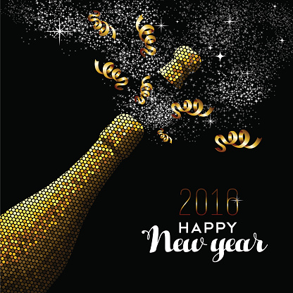 Happy new year 2016 gold drink bottle party mosaic