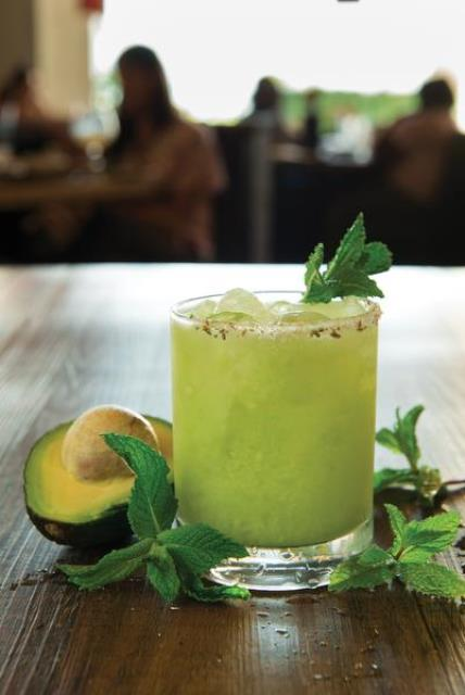Revamped bar menus at California Pizza Kitchen will sports hand-shaken cocktails like this California Roots drink -- made with Svedka Vodka, fresh avocado and mint, fresh Agave Sour with a fennel salt rim;