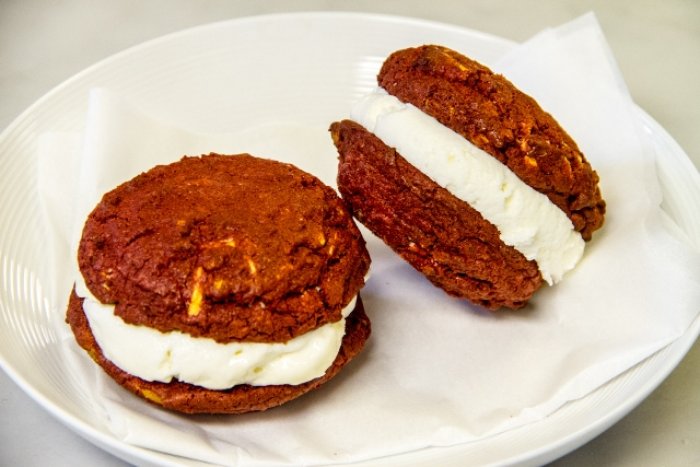 Red Velvet and Cream Cheese Ice Cream Sandwiches