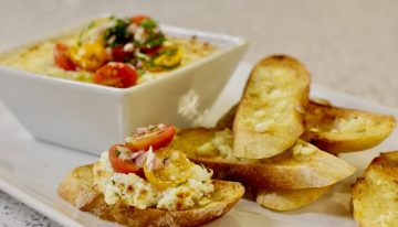 "Recipe: Goat Cheese and Mascarpone Dip with Tomato Relish and Garlic Bread ""Bruschetta"""