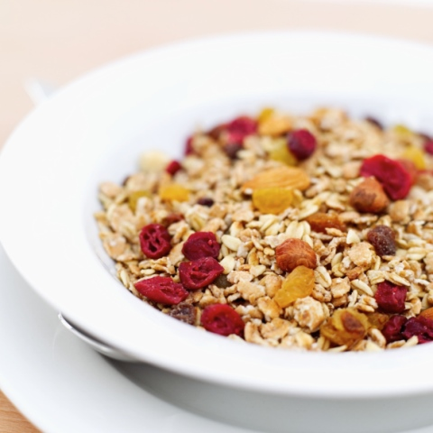 Close-up of a bowl of high fiber cereal with nuts