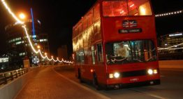 Holiday Lights and Festivities from a Real London Double Decker Bus