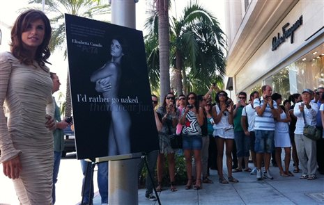 Elisabetta Canalis sheds fur for PETA