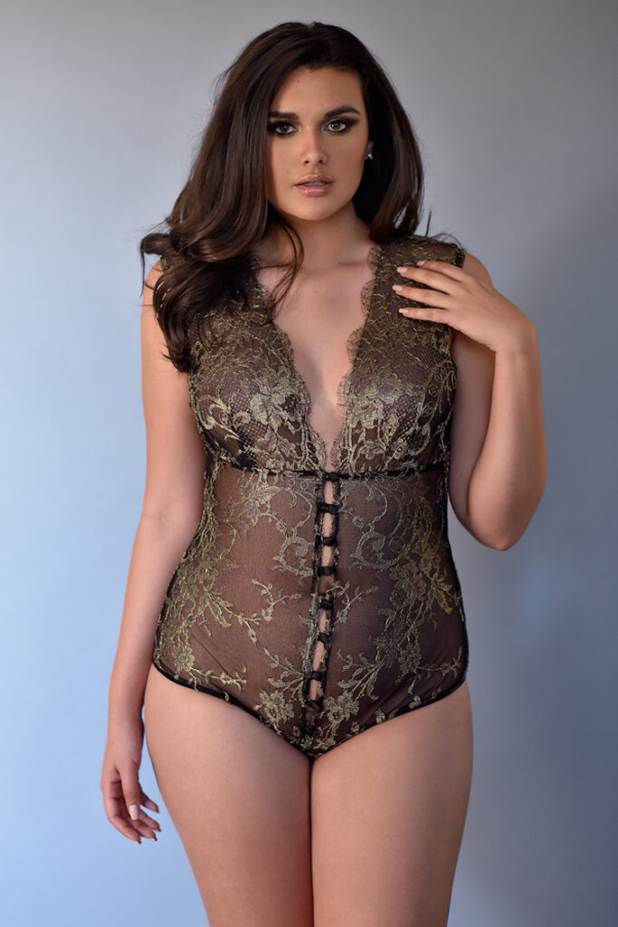 Goddess Gold Lace Bodysuit - Anya Lust Luxury Lingerie